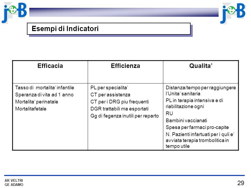 Esempi di Indicatori Efficacia Efficienza Qualita'