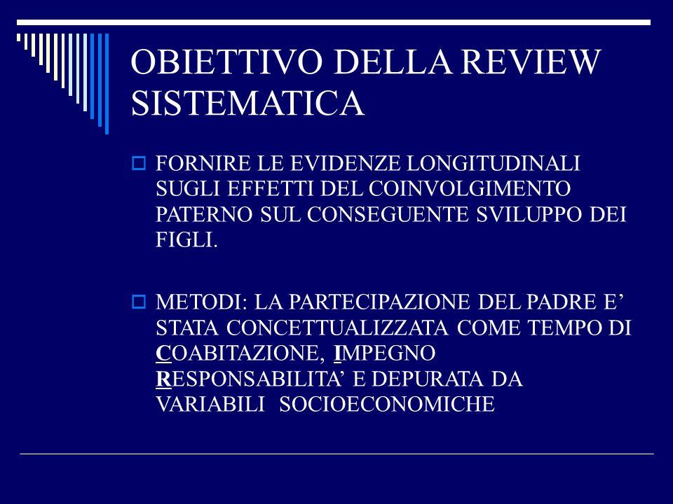 OBIETTIVO DELLA REVIEW SISTEMATICA