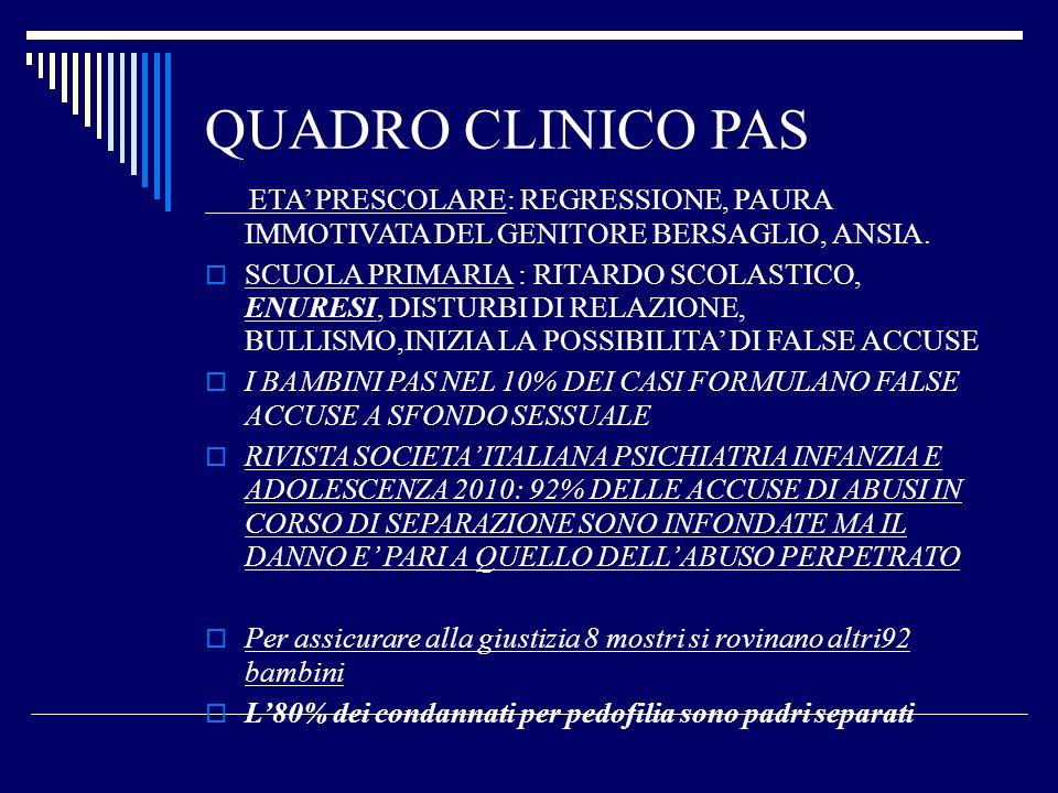 QUADRO CLINICO PAS ETA' PRESCOLARE: REGRESSIONE, PAURA IMMOTIVATA DEL GENITORE BERSAGLIO, ANSIA.