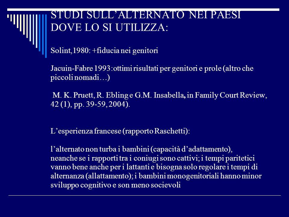 STUDI SULL'ALTERNATO NEI PAESI DOVE LO SI UTILIZZA: Solint,1980: +fiducia nei genitori Jacuin-Fabre 1993:ottimi risultati per genitori e prole (altro che piccoli nomadi…) M.