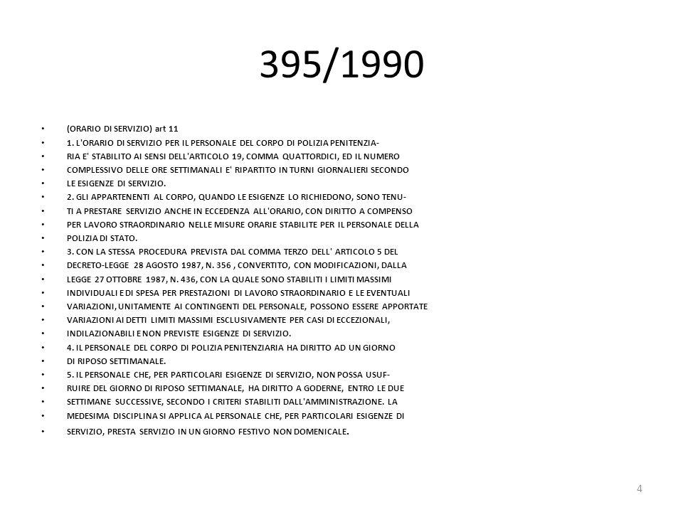 395/1990 (ORARIO DI SERVIZIO) art 11