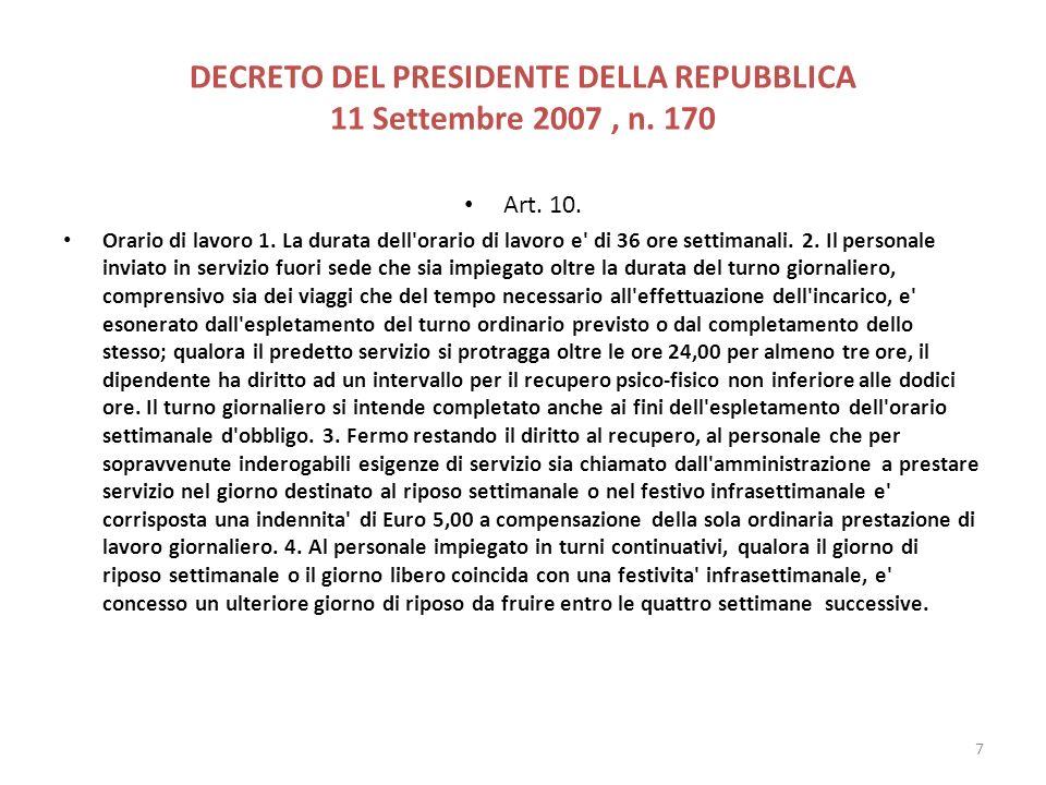 DECRETO DEL PRESIDENTE DELLA REPUBBLICA 11 Settembre 2007 , n. 170