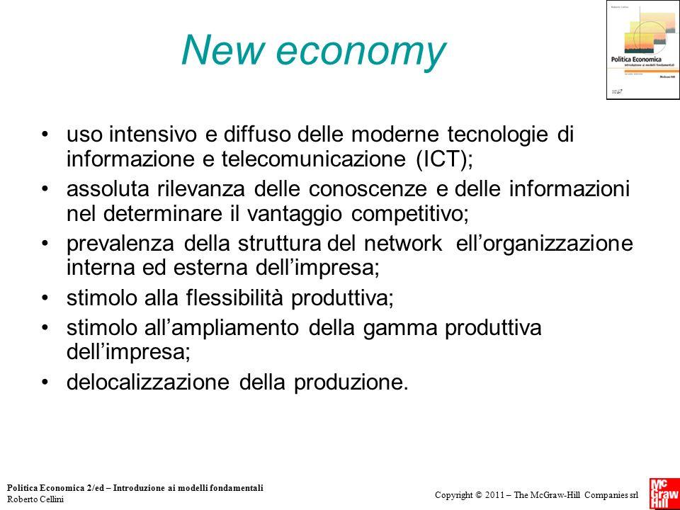 New economy uso intensivo e diffuso delle moderne tecnologie di informazione e telecomunicazione (ICT);