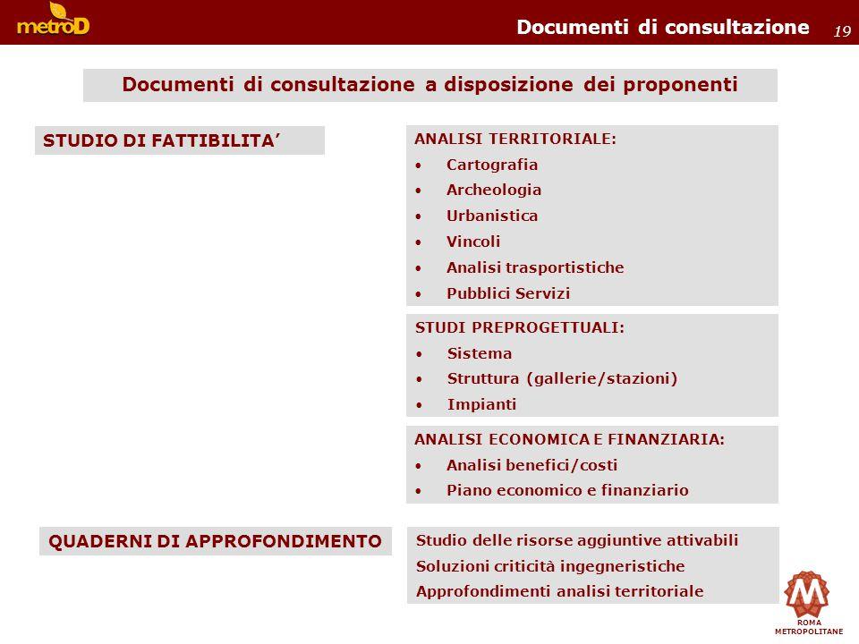 Documenti di consultazione a disposizione dei proponenti