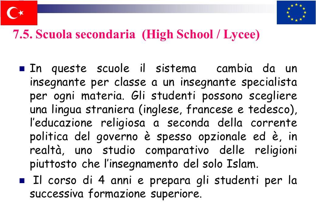 7.5. Scuola secondaria (High School / Lycee)