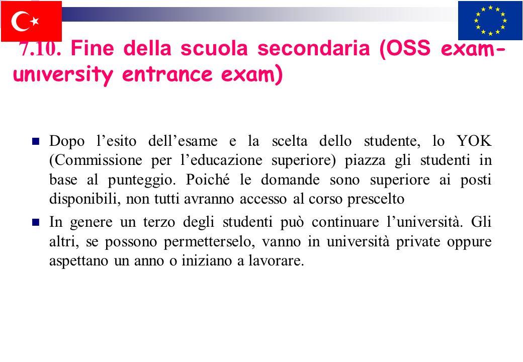 7.10. Fine della scuola secondaria (OSS exam-unıversity entrance exam)