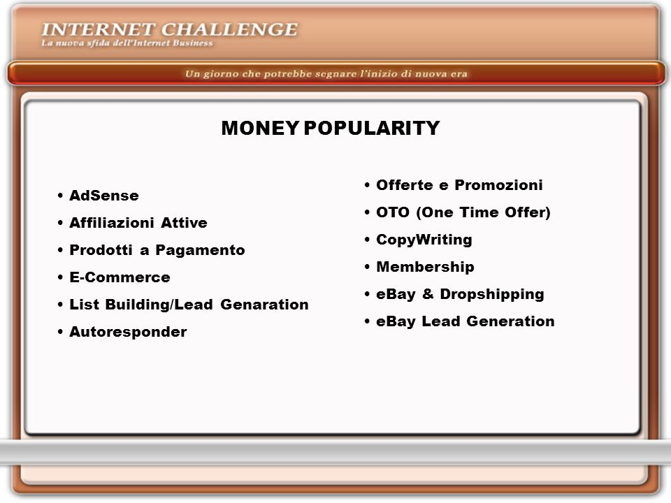 MONEY POPULARITY Offerte e Promozioni AdSense OTO (One Time Offer)‏