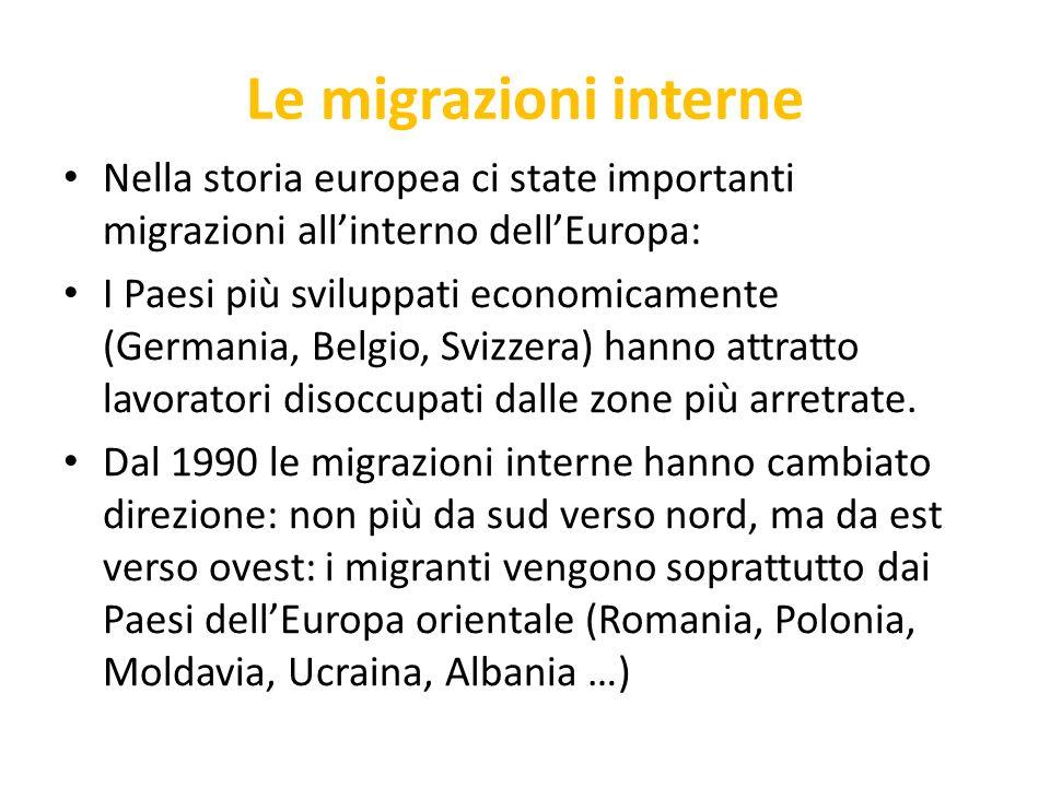 Le migrazioni interne Nella storia europea ci state importanti migrazioni all'interno dell'Europa: