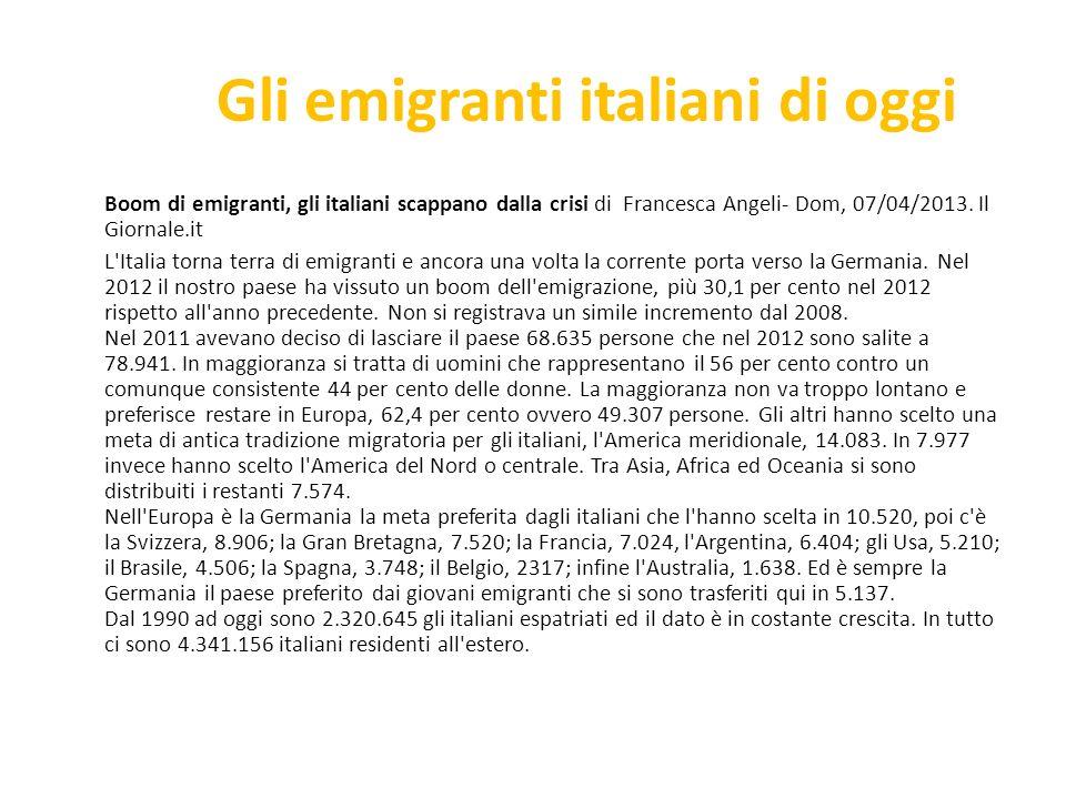 Gli emigranti italiani di oggi
