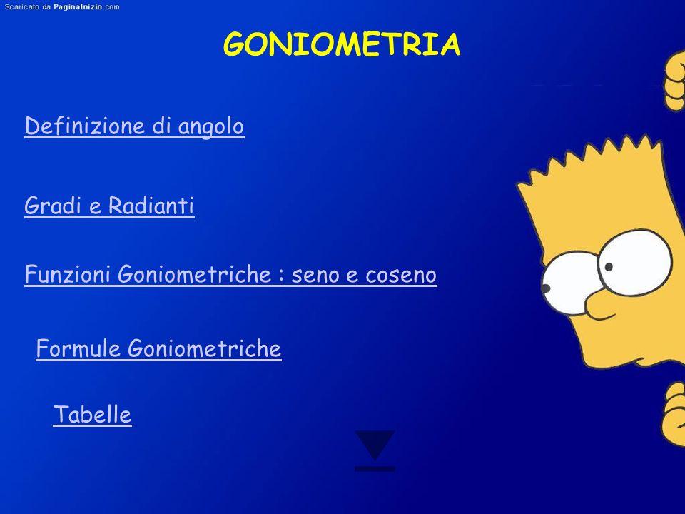GONIOMETRIA Definizione di angolo Gradi e Radianti