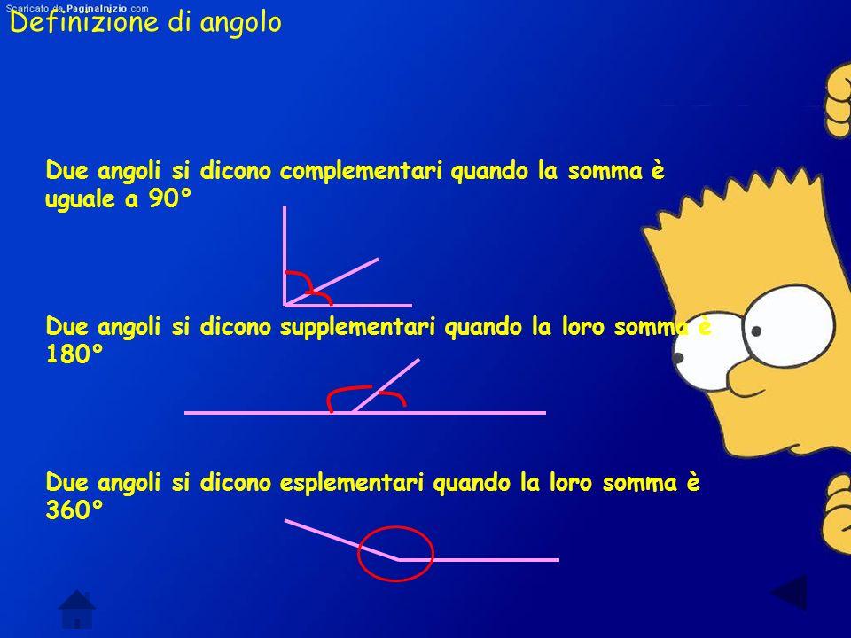 Definizione di angolo Due angoli si dicono complementari quando la somma è uguale a 90°