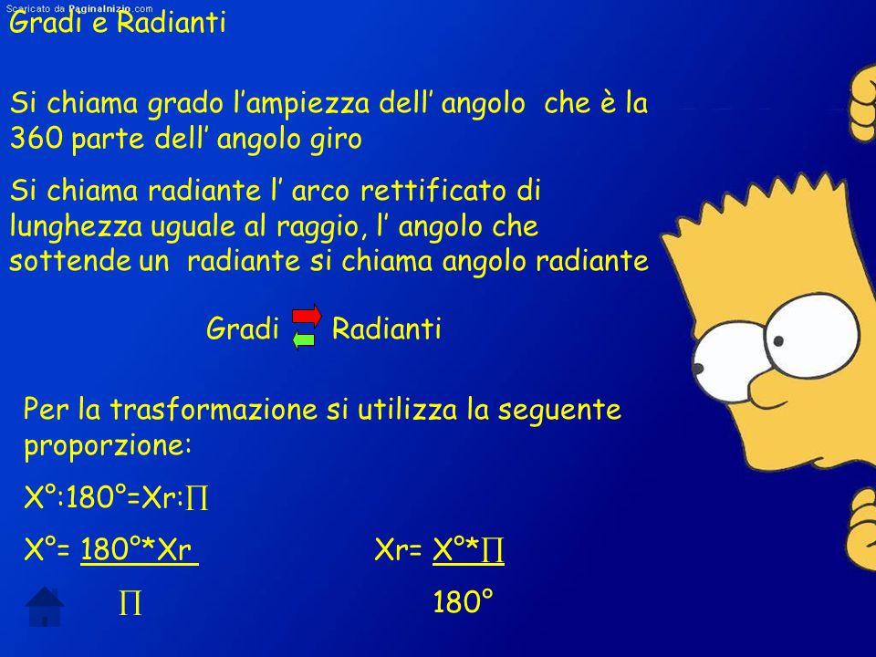 Gradi e Radianti Si chiama grado l'ampiezza dell' angolo che è la 360 parte dell' angolo giro.