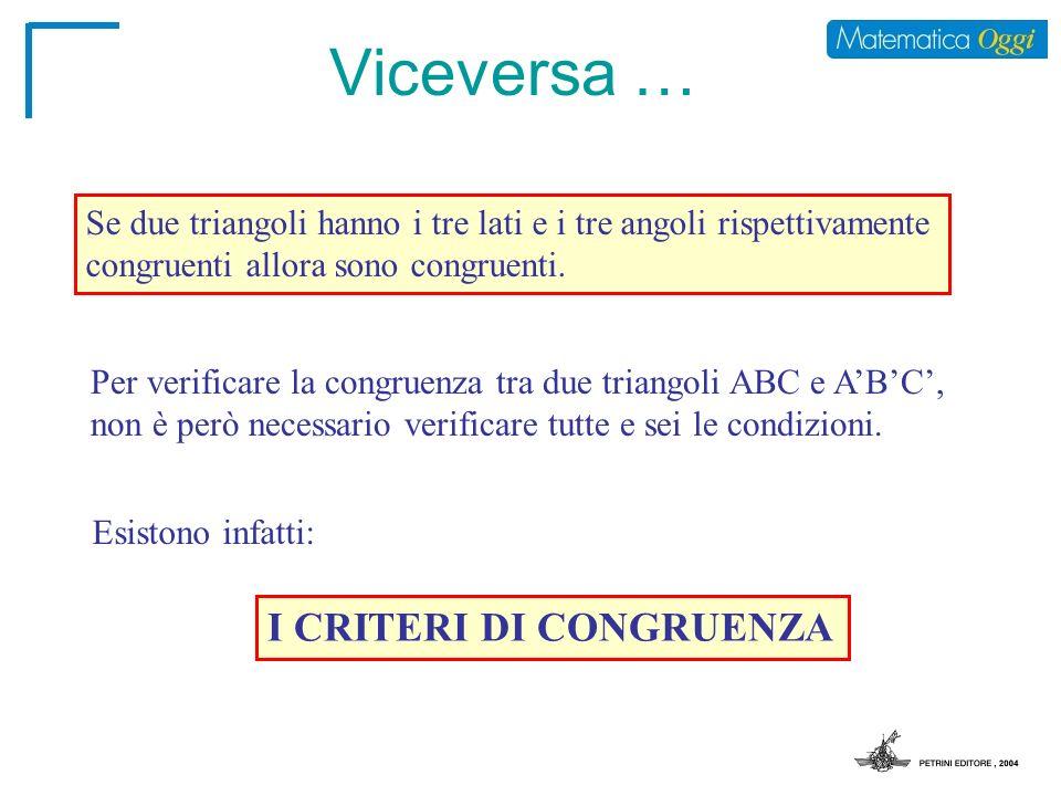 Viceversa … I CRITERI DI CONGRUENZA