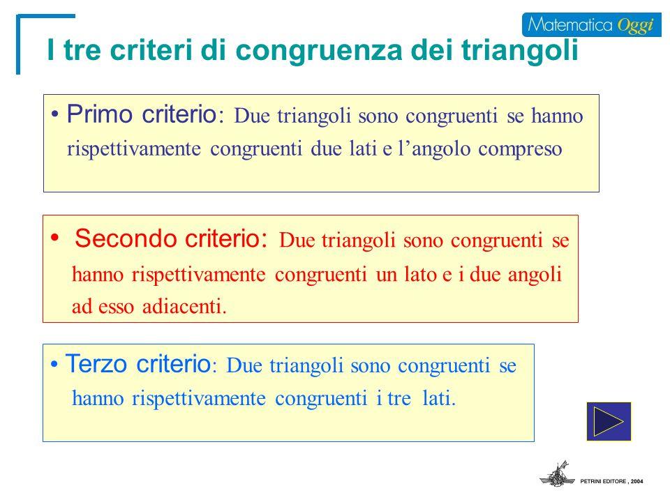 I tre criteri di congruenza dei triangoli
