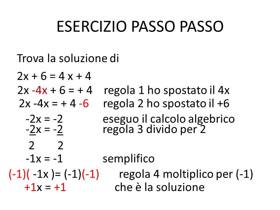ESERCIZIO PASSO PASSO Trova la soluzione di 2x + 6 = 4 x + 4