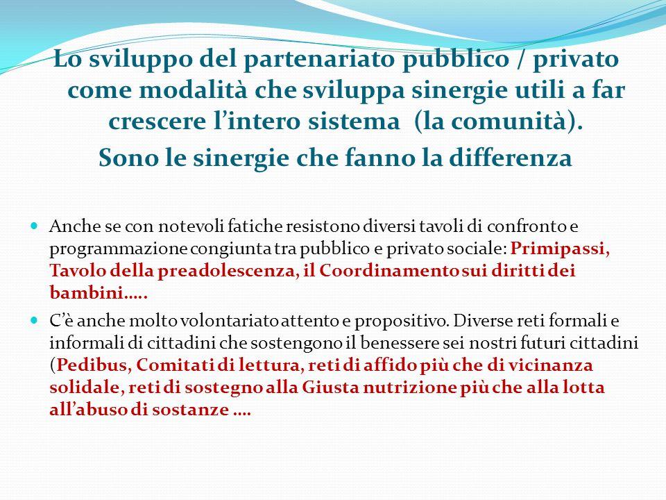 Lo sviluppo del partenariato pubblico / privato come modalità che sviluppa sinergie utili a far crescere l'intero sistema (la comunità). Sono le sinergie che fanno la differenza