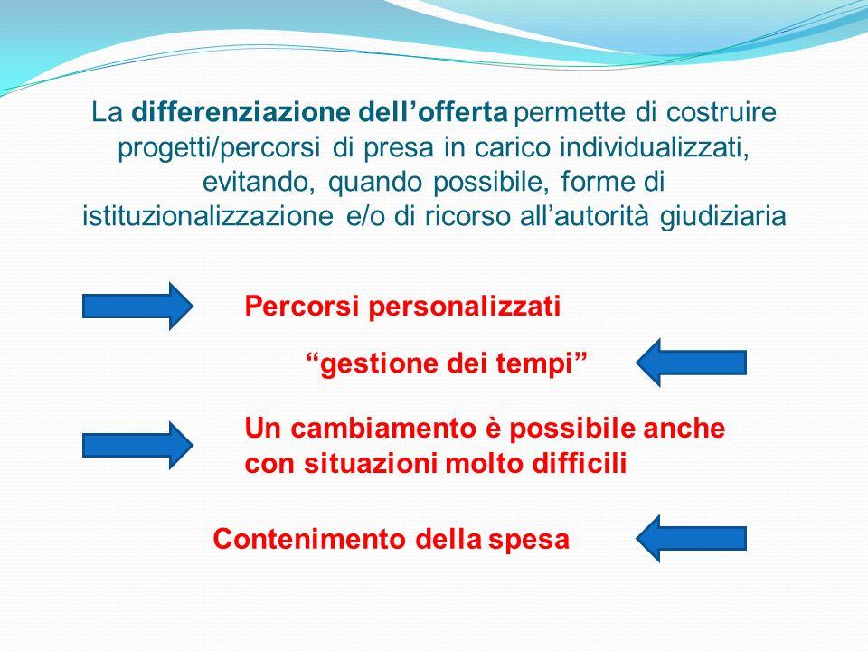 La differenziazione dell'offerta permette di costruire progetti/percorsi di presa in carico individualizzati, evitando, quando possibile, forme di istituzionalizzazione e/o di ricorso all'autorità giudiziaria