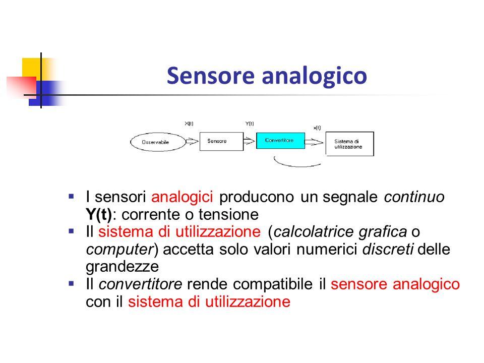 Sensore analogico I sensori analogici producono un segnale continuo Y(t): corrente o tensione.