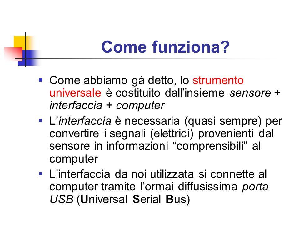 Come funziona Come abbiamo gà detto, lo strumento universale è costituito dall'insieme sensore + interfaccia + computer.