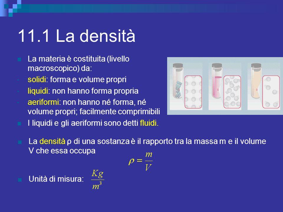11.1 La densità La materia è costituita (livello macroscopico) da: