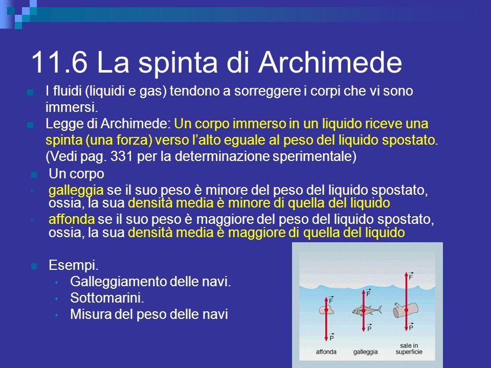 11.6 La spinta di Archimede I fluidi (liquidi e gas) tendono a sorreggere i corpi che vi sono immersi.