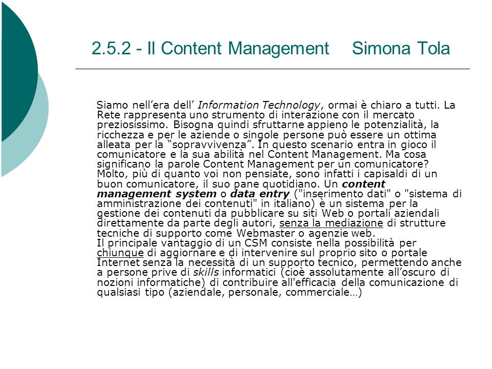 2.5.2 - Il Content Management Simona Tola