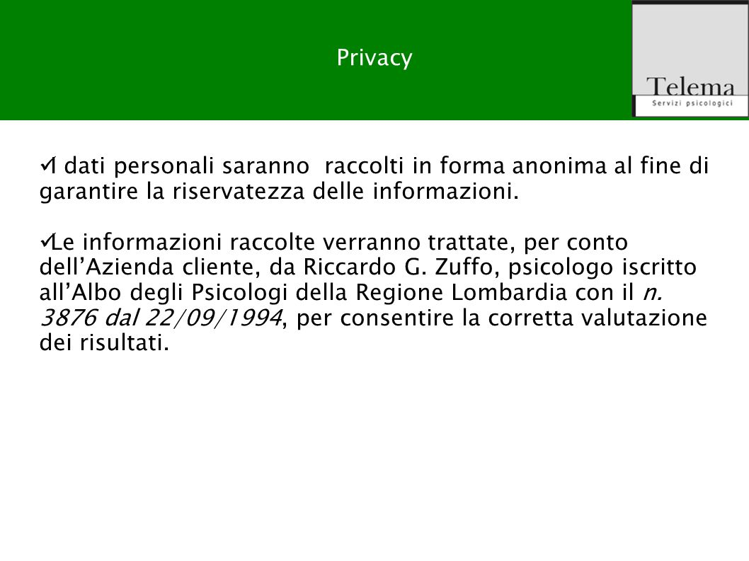 Output del prodotto Privacy