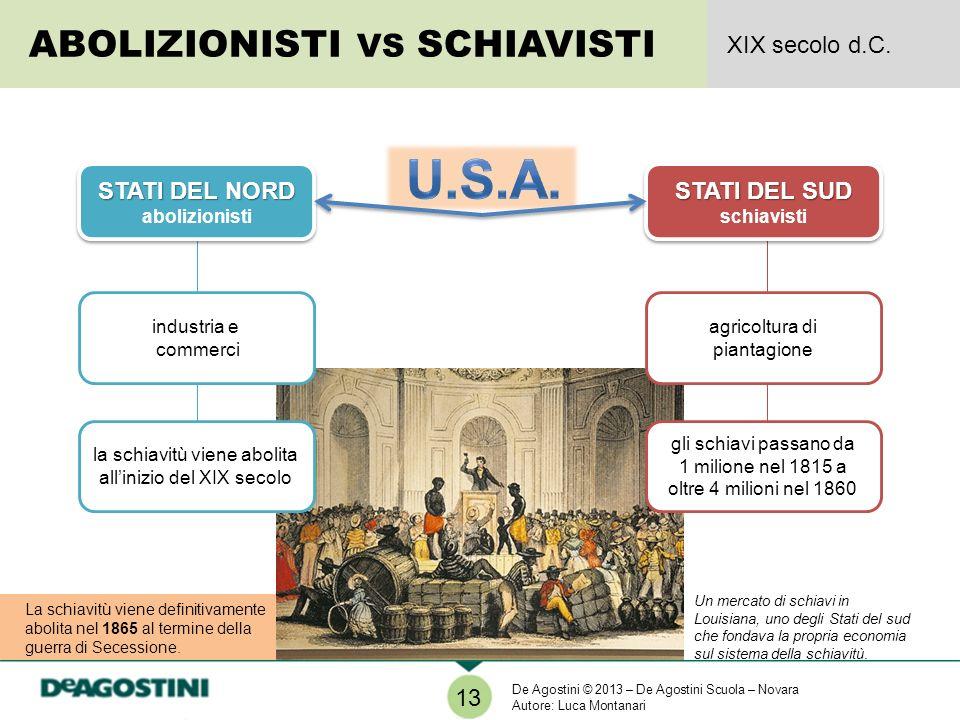 U.S.A. ABOLIZIONISTI VS SCHIAVISTI XIX secolo d.C. STATI DEL NORD