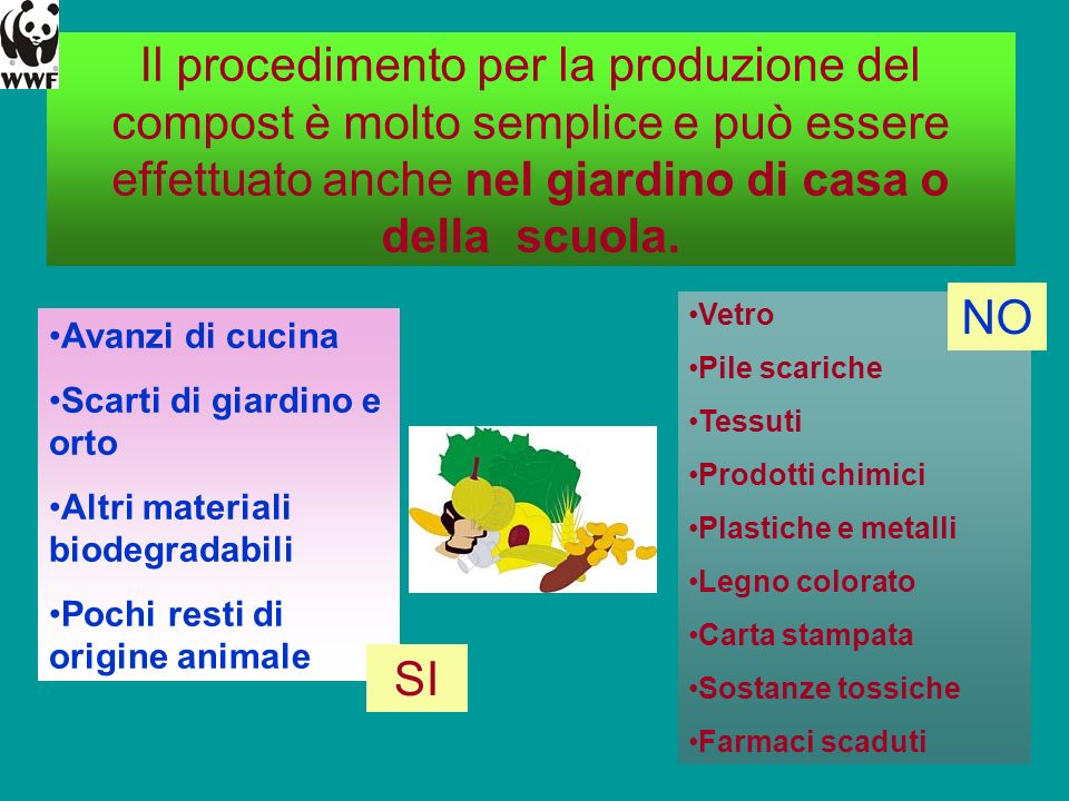 Il procedimento per la produzione del compost è molto semplice e può essere effettuato anche nel giardino di casa o della scuola.