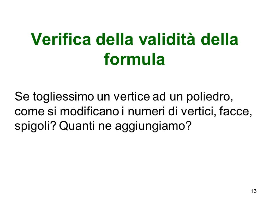 Verifica della validità della formula
