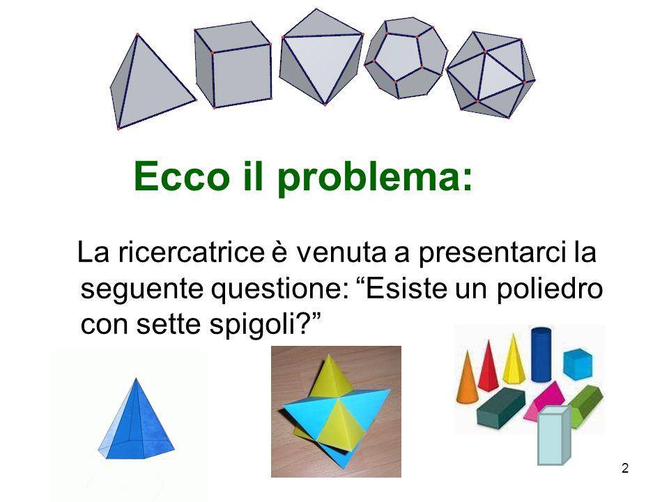 Ecco il problema: La ricercatrice è venuta a presentarci la seguente questione: Esiste un poliedro con sette spigoli
