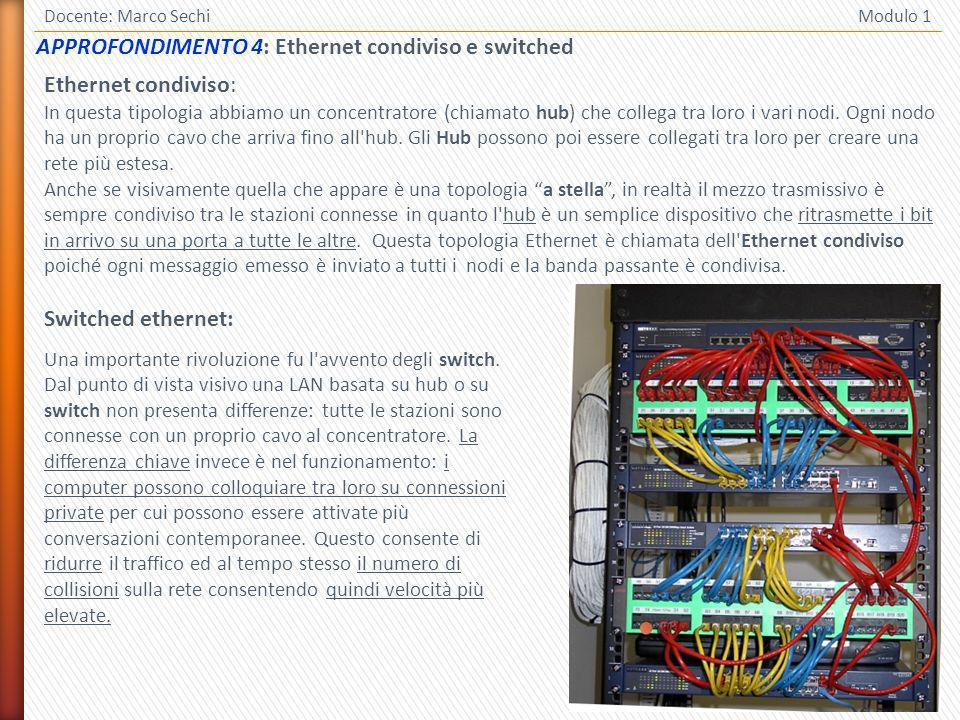 APPROFONDIMENTO 4: Ethernet condiviso e switched