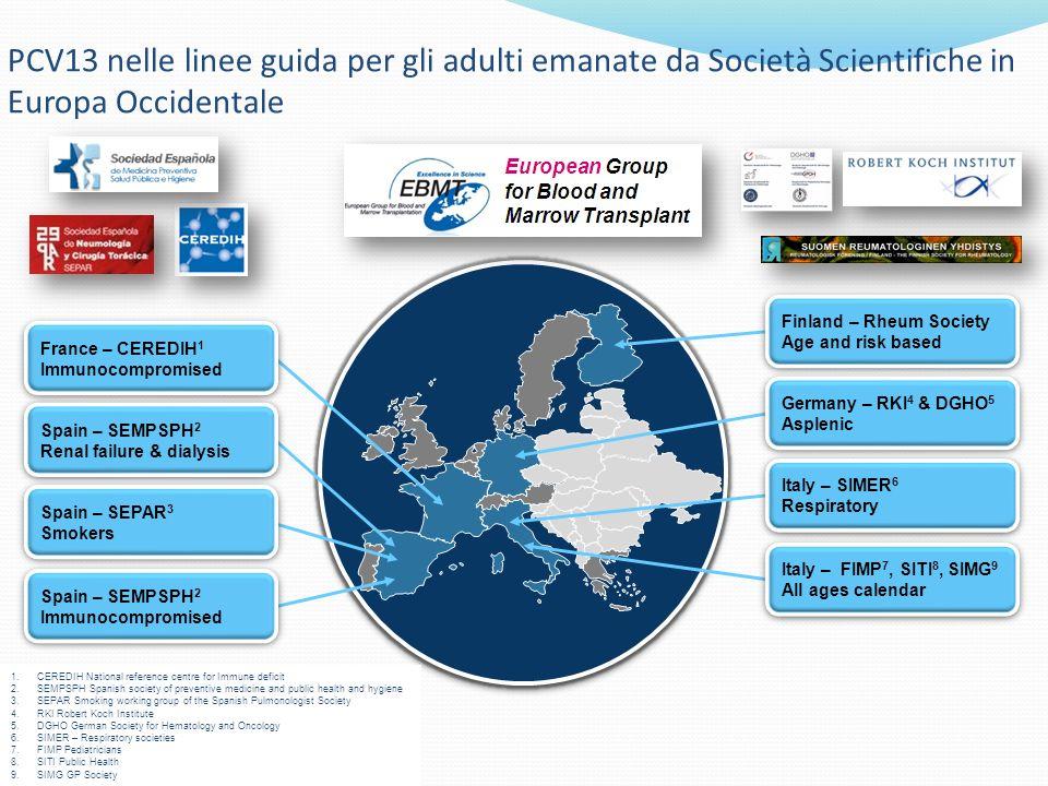 PCV13 nelle linee guida per gli adulti emanate da Società Scientifiche in Europa Occidentale
