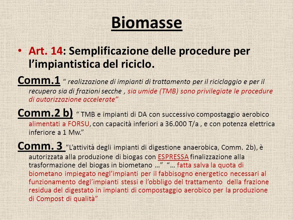 Biomasse Art. 14: Semplificazione delle procedure per l'impiantistica del riciclo.