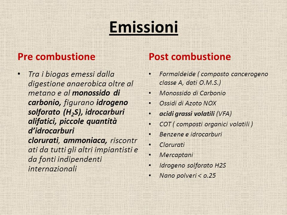 Emissioni Pre combustione Post combustione
