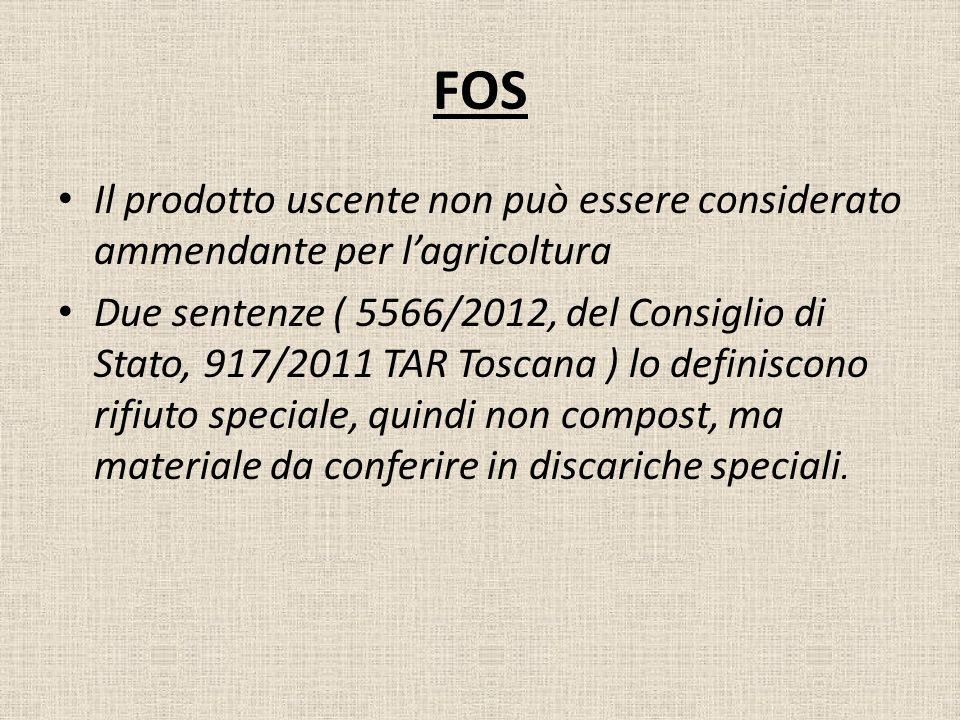 FOS Il prodotto uscente non può essere considerato ammendante per l'agricoltura.