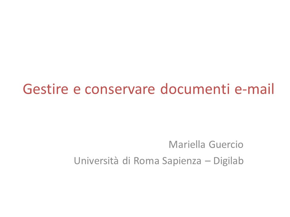 Gestire e conservare documenti e-mail
