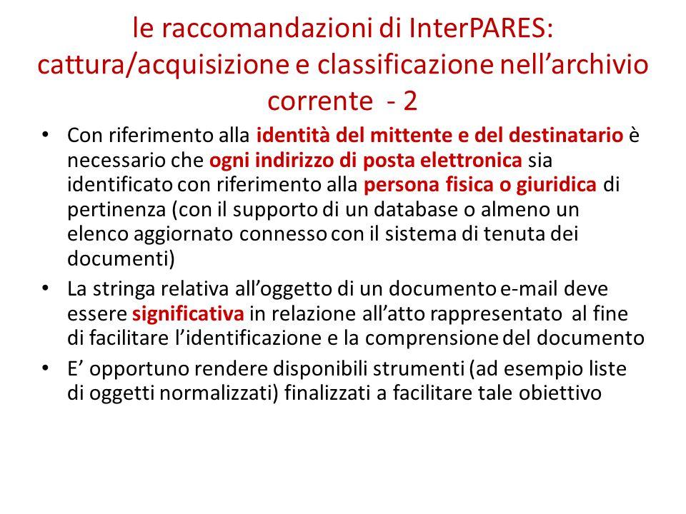 le raccomandazioni di InterPARES: cattura/acquisizione e classificazione nell'archivio corrente - 2