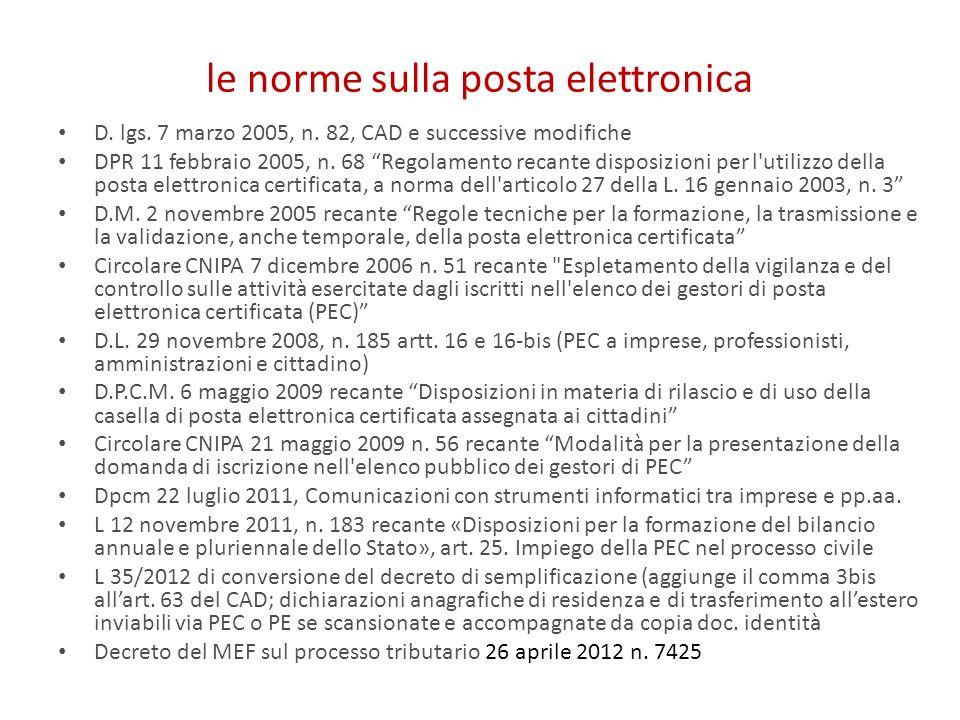 le norme sulla posta elettronica
