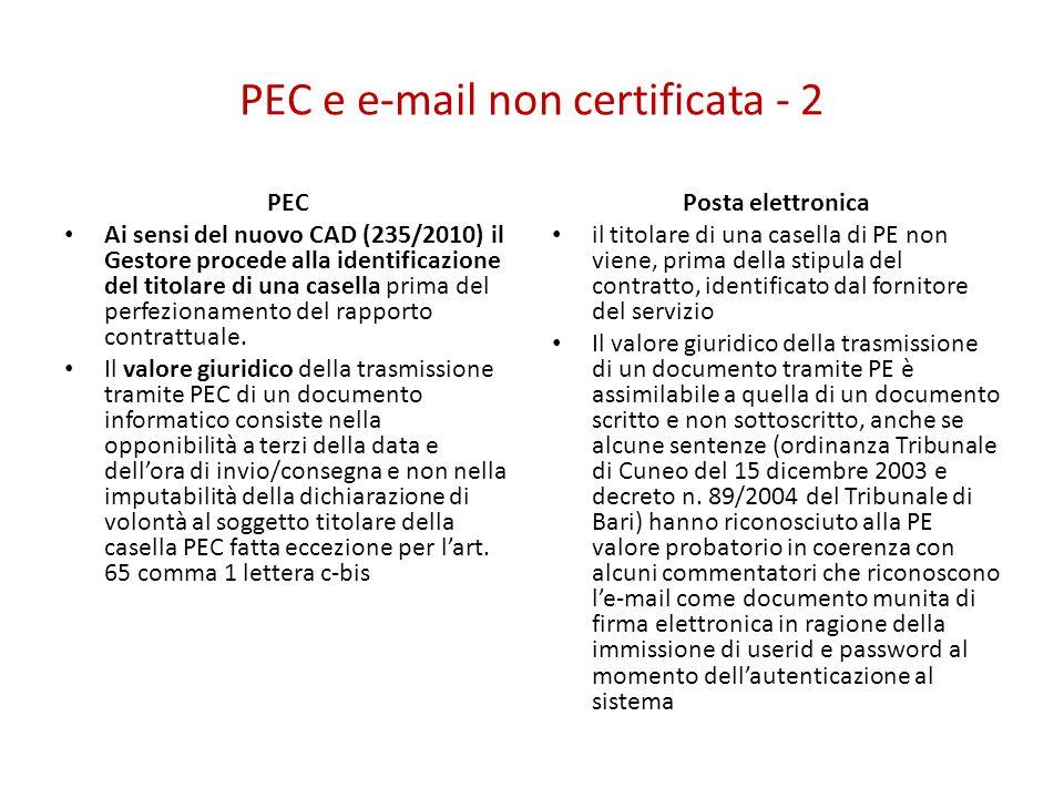 PEC e e-mail non certificata - 2