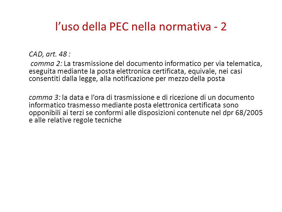 l'uso della PEC nella normativa - 2