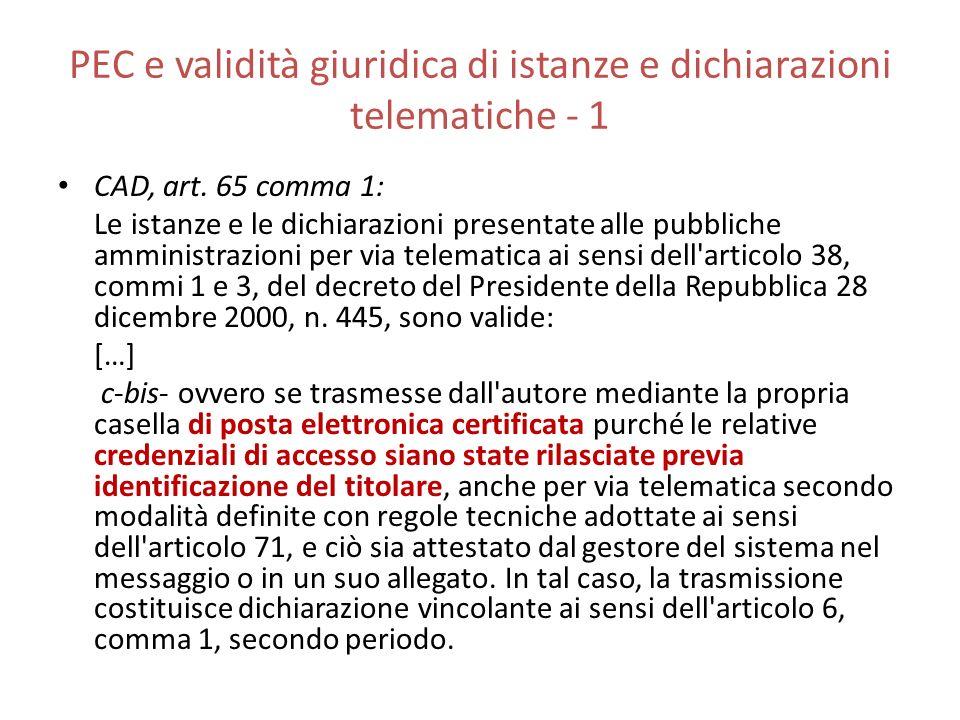 PEC e validità giuridica di istanze e dichiarazioni telematiche - 1