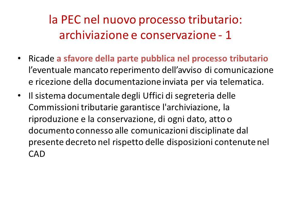 la PEC nel nuovo processo tributario: archiviazione e conservazione - 1