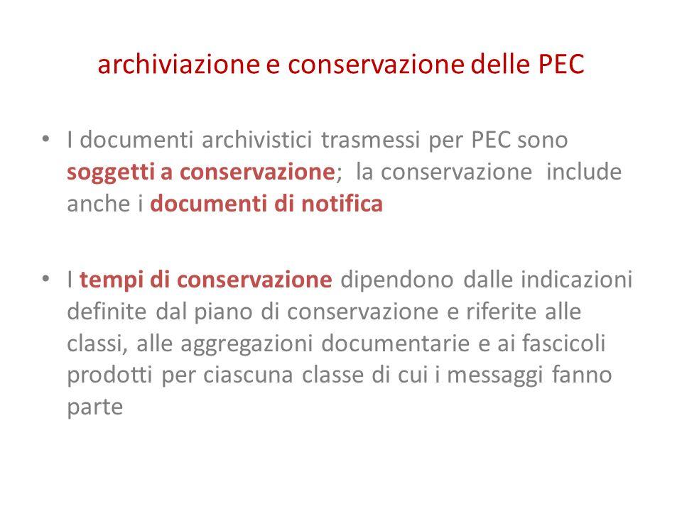archiviazione e conservazione delle PEC