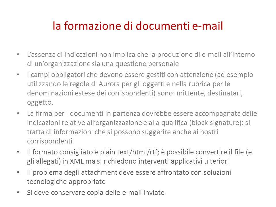 la formazione di documenti e-mail