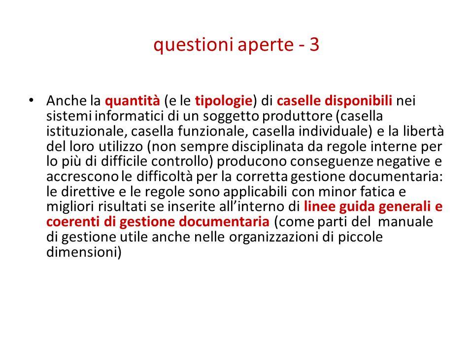 questioni aperte - 3