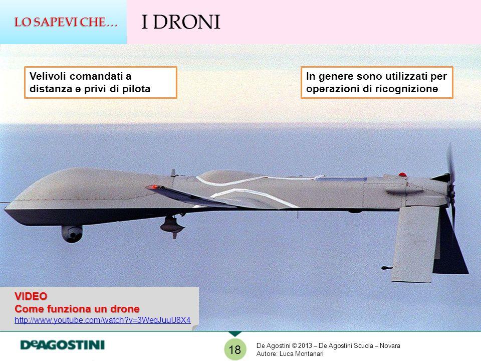 LO SAPEVI CHE… I DRONI. Velivoli comandati a distanza e privi di pilota. In genere sono utilizzati per operazioni di ricognizione.