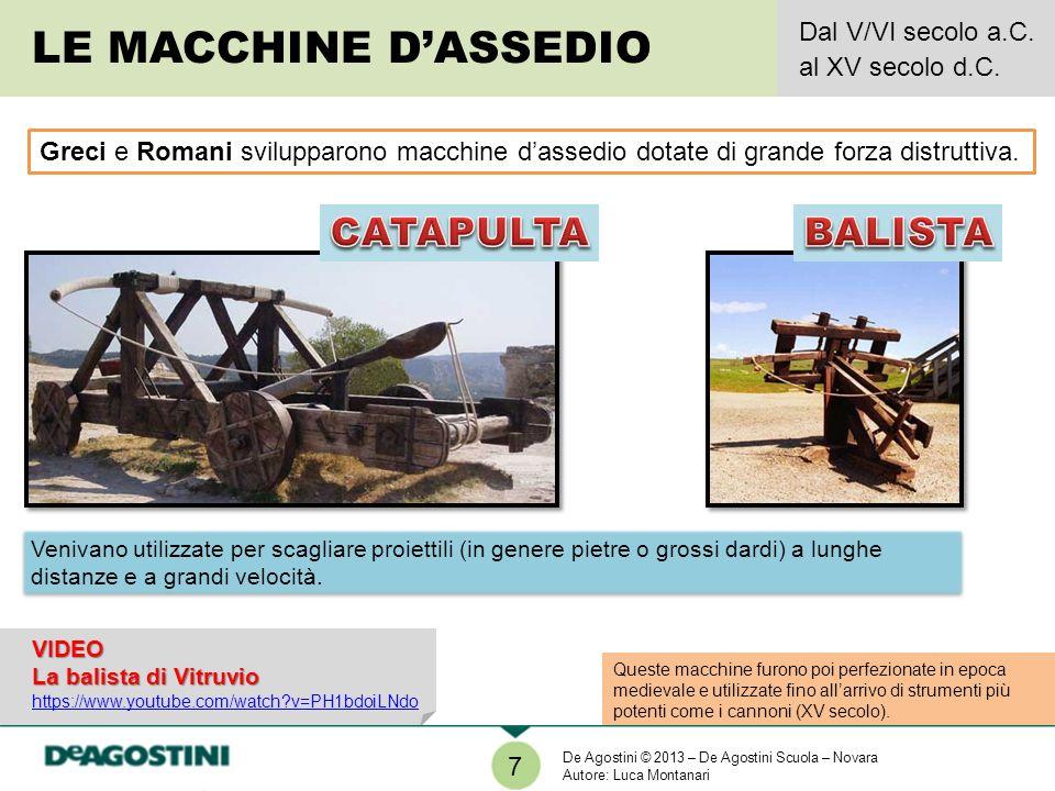 LE MACCHINE D'ASSEDIO CATAPULTA BALISTA Dal V/VI secolo a.C.