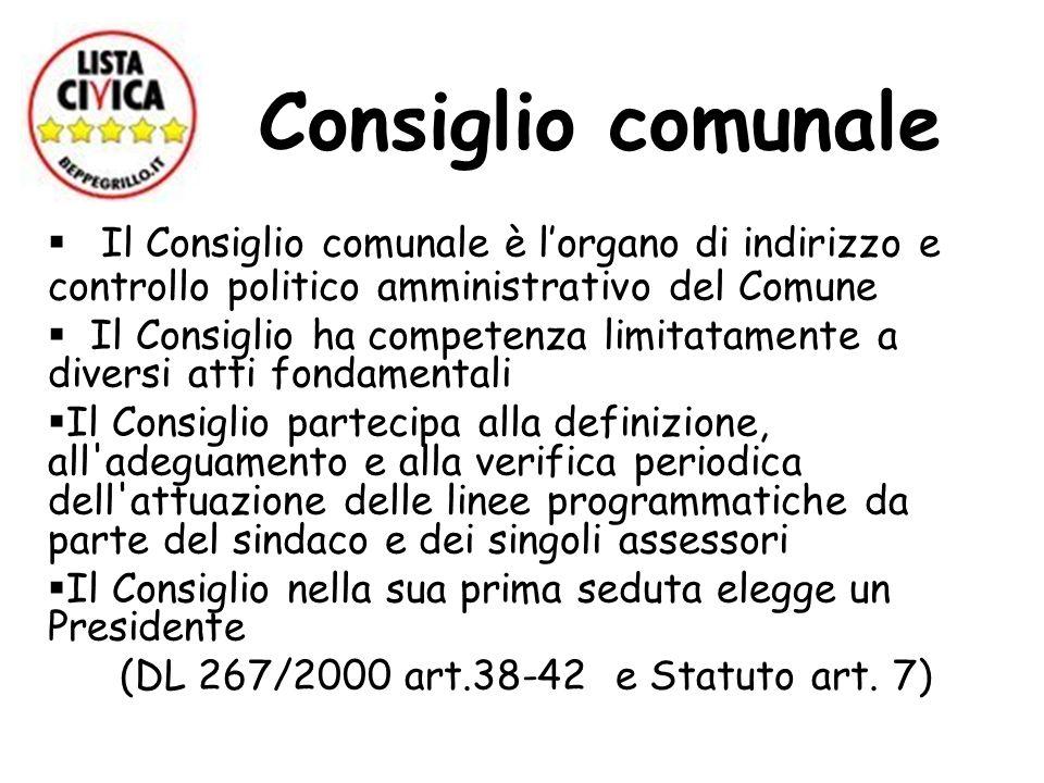 (DL 267/2000 art.38-42 e Statuto art. 7)