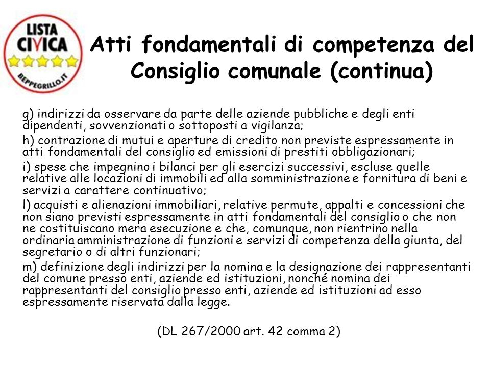 Atti fondamentali di competenza del Consiglio comunale (continua)